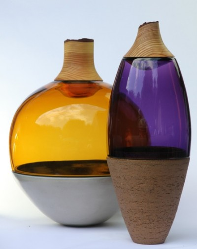 Transformed Stacking Vessels - purple and amber - by Utopia & Utility