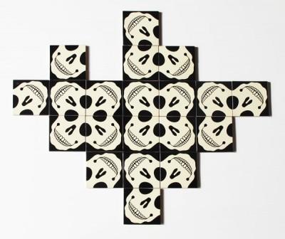 SelfMural by Bussoga - skull tiles