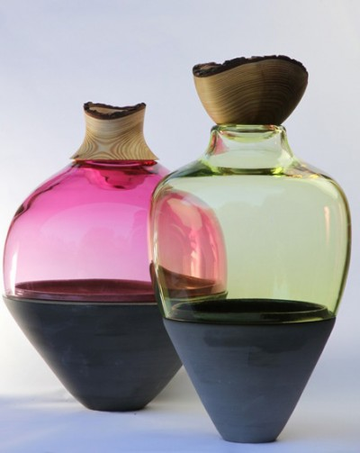 Transformed Stacking Vessels - pink and citron - by Utopia & Utility